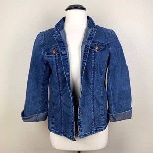 Jones New York Signature Fitted Jean Jacket Large